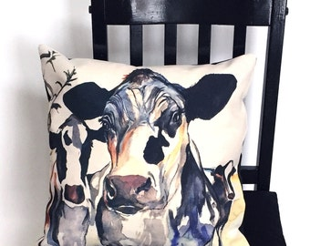 Black and White Cow Pillow or Pillowcase. Design from original watercolour painting by Kate Green