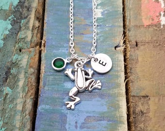 Frog Necklace, Gecko Necklace, Birthstone Jewelry, Science Teacher Gift, Animal Lover Necklace, Frog Pendant, Personalized Jewelry,