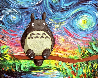 My Neighbor Totoro Art - Starry Night Giclee print van Gogh Never Met His Neighbor by Aja 8x8, 10x10, 12x12, 20x20, and 24x24 choose size