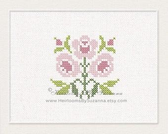 Antique Cross Stitch Rose Design - Machine Embroidery Design - Machine Cross Stitch Embroidery - Floral Cross Stitch Design - HBS-AROSE-4
