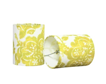Yellow Sconce Shades - Floral Chandelier Lamp Shades - Drum Shade - Modern Chic - Contemporary