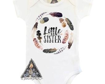 Boho Little Sister Bodysuit, Boho Bodysuit, Boho Feathers Bodysuit, Big Sister Bodysuit, Boho Feather,Pregnancy Announcement
