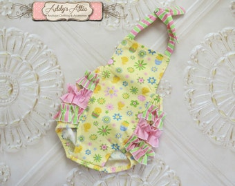Easter Romper, Baby Girl Sunsuit Romper,Vintage Ruffle Romper, Toddler Girl, Sunsuit, Baby Romper, Easter Outfit