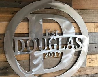 Custom Aluminum Name Sign, Personalized gift, Wedding gift, Anniversary gift, Engagement gift, Name sign, Initial, Rustic decor, Art