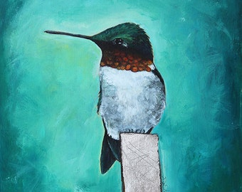 Bird painting matted Print Humming bird acrylic mixed media bird painting by Diane Ackers