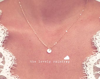 """SALE - Tiny Customized Initial 1/4"""" Disc Necklace gold Small Dainty Circle Disc Charms - Personalized - Bridal Gift - thelovelyraindrop"""