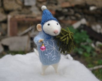 felted christmas animals mouse  Needle felted mouse  Felt mouse White mouse Needle felt mouse Felted mice Waldorf animal toy Cute felt mouse