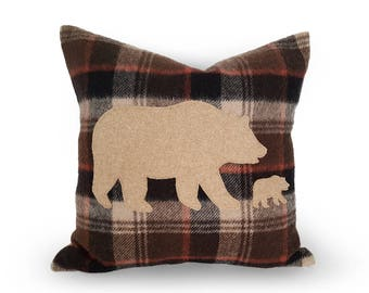 Bear Pillows, Rustic Fall Decor, Mothers Day Gift, Wool Pillow, Bear Cushion, Animal Pillow Cover, Wilderness Pillow, Mama Baby, 12x18, 18