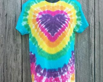 Women's Plus Size Heart Tie Dye Tshirt, Available Sizes  XXL 3XL 4XL 5XL 6XL, Rainbow Heart Tie Dye Shirt, Festival Top, Tie Dye