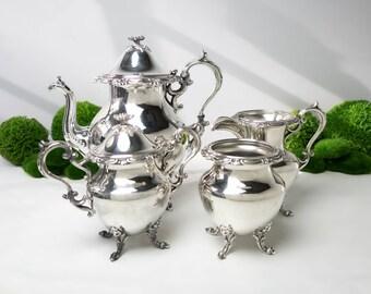 Vintage Silver Plate Tea Service Set  Flower Finial Teapot Creamer Sugar Waste Bowl Goldfeder Silver Co