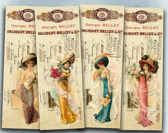 75% OFF SALE Pretty Ladies - Digital vintage bookmark B018 collage sheet printable download women digital image fashion collage invoice