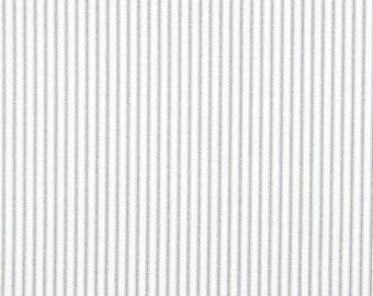 Classic Stripe Storm Grey Fabric, Premier Prints Classic Ticking Gray Home Decor Fabric, Grey White Cotton Fabric - by yard