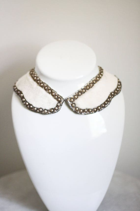 1950s white fur collar // 1950s beaded collar // antique collar
