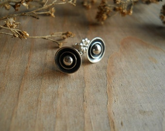 small flower post earrings, sterling silver, tiny earrings, tiny posts, simple earrings, ready to ship