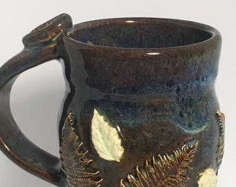 Handmade Pottery Mug, Ceramic Mug, Decorated Mug, Blue Mug, Fern Decoration