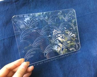Sashiko Stencil By Acrylic -Sashiko Embroidery Pattern -Quilting Stencil | Autumn wind
