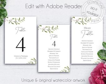 Greenery Wedding Table Number, Reception, Printable Table, Numbers For Wedding, Table Number Prints, Editable, Customize, Printable