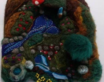 Needle felted wool enchanted forest playmat