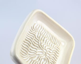Handmade Ceramic Garlic Grater White