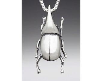 Rhinoceros Beetle Necklace Rhinoceros Beetle Charm Beetle Pendant - Insect Jewelry Insect Charm Insect Necklace - Bug Jewelry Bug Charm