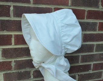 Girls White Pioneer Bonnet Sun Hat