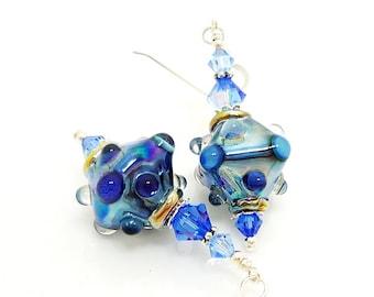 Blue Glass Earrings, Blue Lampwork Earrings, Lampwork Glass Earrings, Lampwork Bead Earrings, Glass Bead Earrings, Unusual Earrings