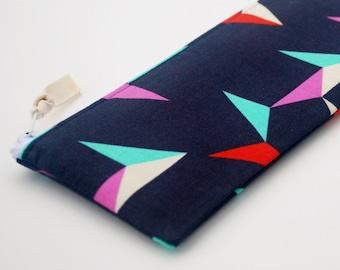 Geometric Pencil Case, Zipper Bag, Cosmetic Bag, Indigo