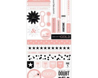 Teresa Collins - Project Pink Collection - Sticker Sheet - Decorative