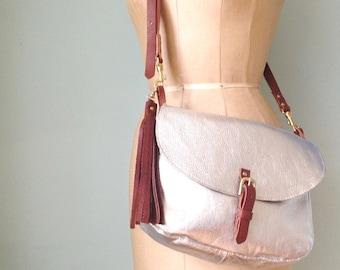 Silver leather handbag, leather saddlebag, cross-body bag