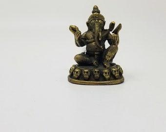 Vintage Elephant God Ganesha  on Skulls Unique Hindu Sacred Charm Thai Amulet