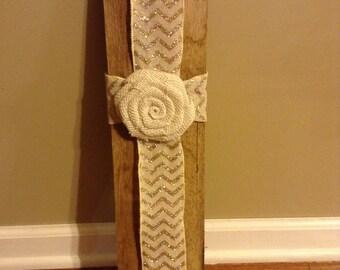 Barn Wood Ribbon Cross, Wood Cross, Chevron Ribbon Cross, Handmade Cross, Cross
