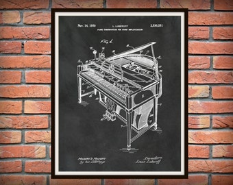 Patent 1950 Piano - Grand Piano - Wall Art - Musical Instrument - Orchestra Wall Art - Piano Construction for Sound Amplification