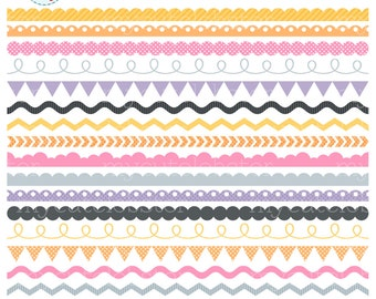 Borders Clipart Set - yellow, pastel, dark grey - borders clip art, scallop, pennant - personal use, small commercial use, instant download