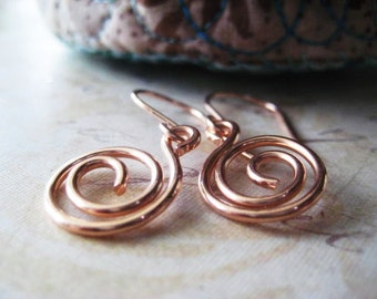 Rose Gold Earrings, 14k Gold Filled, Swirl Earrings, Hand Formed, Dangling Swirls, Pink Gold, Rose Gold Filled, Womens Jewelry, candies64