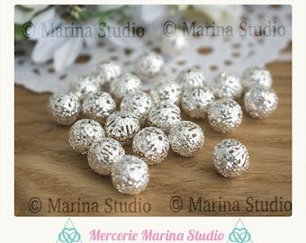 50 beads 10mm filigree silver glossy clear n11306