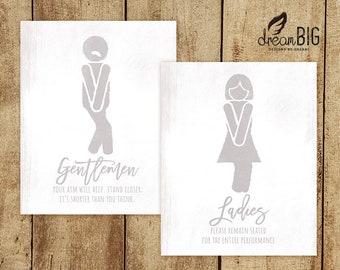 Ladies Gentlemen Set Of 2 Bathroom Restroom Locker Room Sign