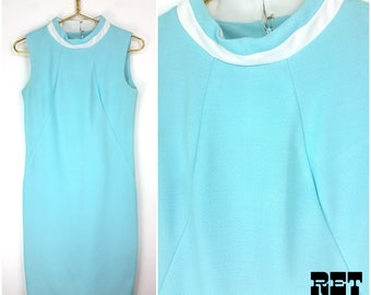 Vintage 60s Light Blue and White Mod Shift Dress - AS IS