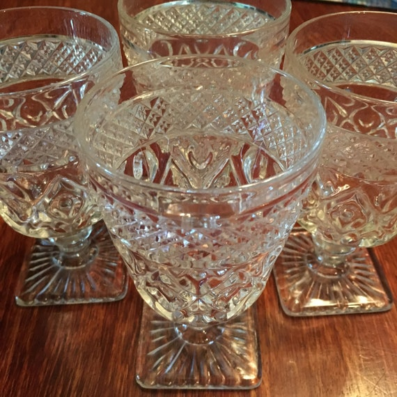 Set/4 Imperial Glass Cape Cod Water Goblets Wafer Stem # 160