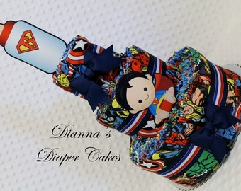 Super hero Baby Diaper Cake Shower Gift Centerpiece Superhero