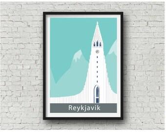 Iceland art print, Reykjavik Wall Art,  Hallgrímskirkja Art Print, city print, travel poster A4, 8 x 10 inch