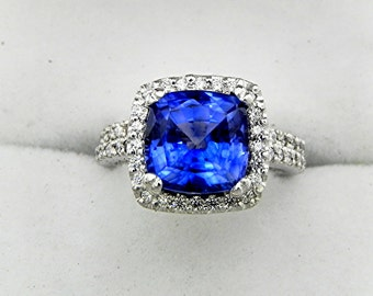 AAAA Manmade Blue Sapphire Cushion cut   8x8mm  2.50 Carats   in 14K white gold Halo Bridal set with .45 carats of diamonds HB88