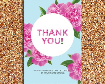 INSTANT DOWNLOAD   Modern, Humorous Pink Peony Thank You Card with Light Blue Background