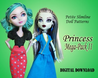 Princess dress backgrounders #2 Doll Clothes PDF Sewing Pattern for Petite Slimline girls: High Obitsu Ever After Monster Dal Super Hero
