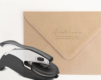 Return Address Embosser Stamp, Housewarming Gift, Return Address Stamp, Gifts for Couples, Custom Embosser, Address Embosser Seal (EADDR132)