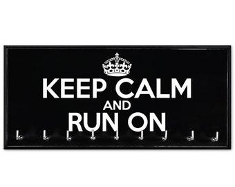 Running Medal Holder - running medals - medal rack - running medal hanger - Keep Calm and Run On