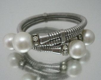 Bypass Bracelet Rhinestone Faux Pearl Unique Vintage
