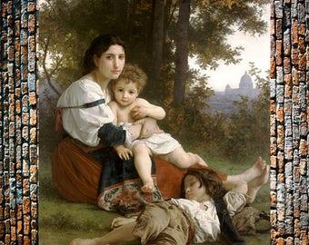 Bouguereau Mother and Children 1879  Vintage Art, Classic Art, Vintage Art, Classic Painting Print, Giclee Art Print, fine Art Reproduction