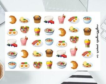 Breakfast Planner Stickers - Food, Muffin, Fruit, Smoothie Planner Stickers