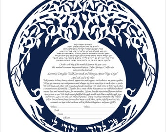 Ketubah marriage contract (Double Tree Blue back) personalization available