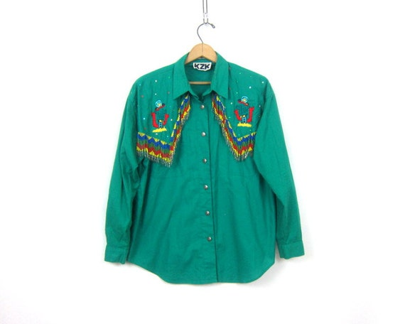 Western Beaded Tassel Shirt Green Cowgirl Southwestern Rockabilly Hipster Top Cactus Embroidery Vintage Women's Size Large